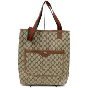 Auth Gucci Gg Brown Tote Bag Vintage #3368G10